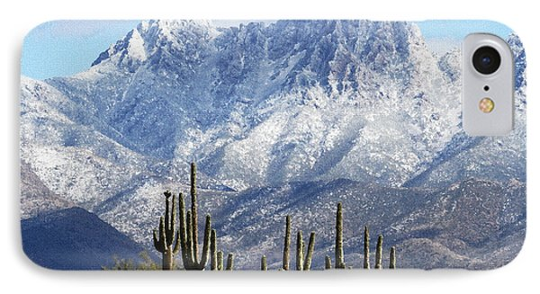 Saguaros At Four Peaks With Snow IPhone Case by Tom Janca