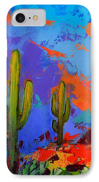 IPhone Case featuring the painting Saguaros Land Sunset By Elise Palmigiani - Square Version by Elise Palmigiani