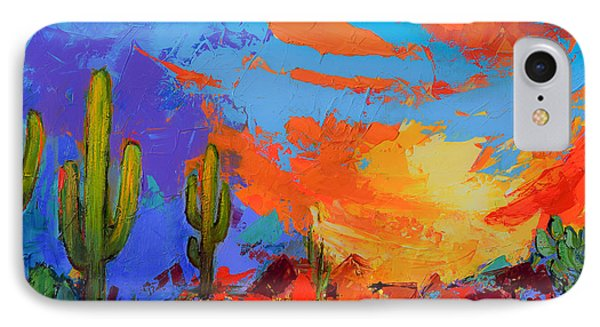 Saguaros Land Sunset IPhone Case by Elise Palmigiani
