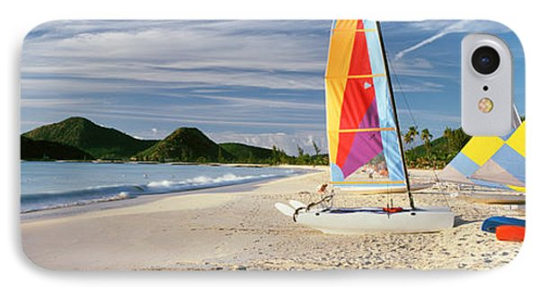 Sail Boats On The Beach, Antigua IPhone Case by Panoramic Images