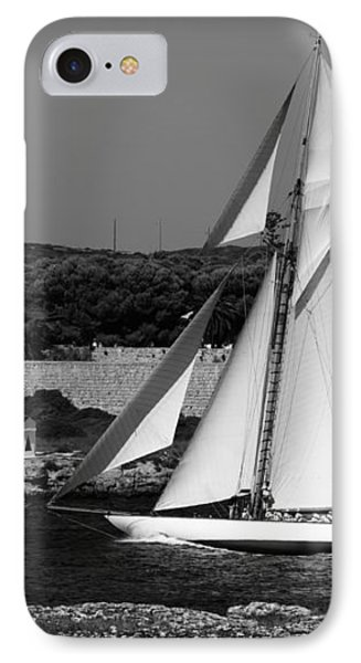 sailboat - a one mast classical vessel sailing in one of the most beautiful harbours Port Mahon IPhone Case