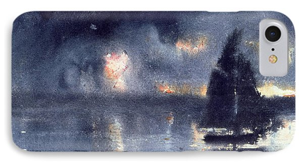 Sailboat And Fourth Of July Fireworks IPhone Case by Winslow Homer