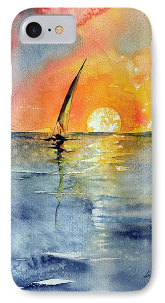 Sailboat At Sunrise IPhone Case by Kovacs Anna Brigitta
