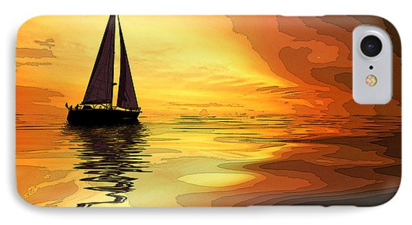 Sailboat At Sunset IPhone Case by Charles Shoup