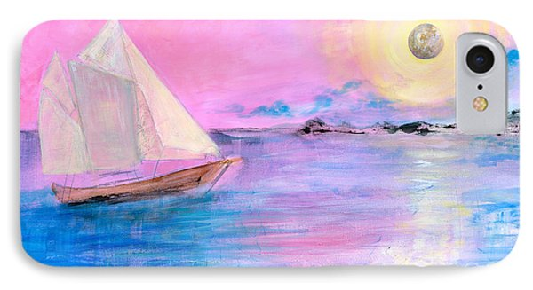 Sailboat In Pink Moonlight  IPhone Case by Robin Maria Pedrero