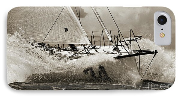Sailboat Le Pingouin Open 60 Sepia IPhone Case