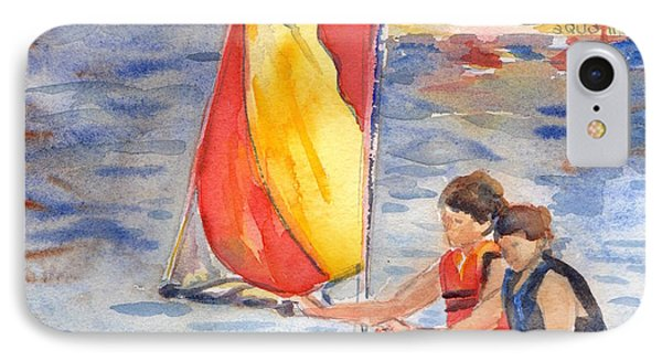 Sailboat Painting In Watercolor IPhone Case by Maria's Watercolor