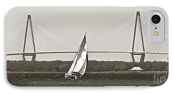 Sailboat Sailing Cooper River Bridge Charleston Sc IPhone Case by Dustin K Ryan