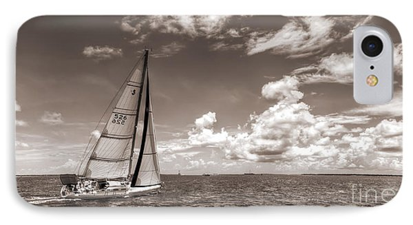 Sailboat Sailing On The Charleston Harbor Sepia Beneteau 40.7 IPhone Case