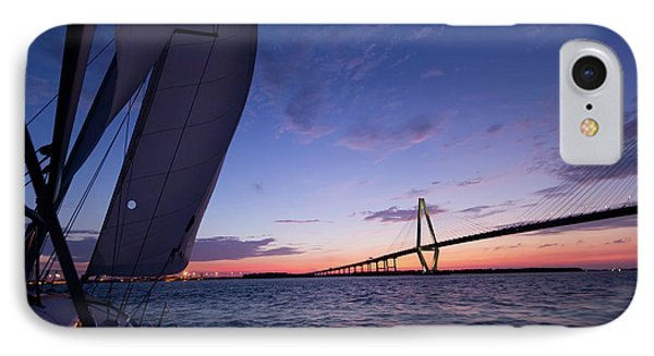 Sailboat Sailing Sunset On The Charleston Harbor  IPhone Case by Dustin K Ryan