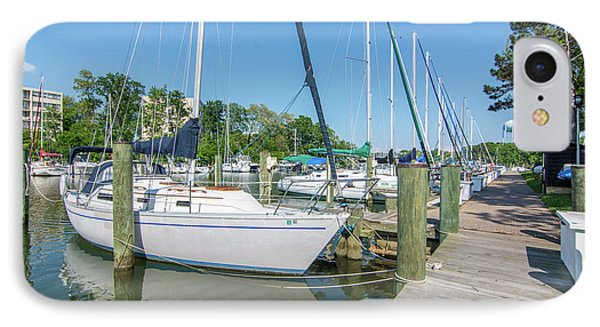 Sailboats At Dock IPhone Case