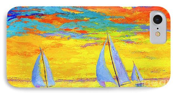 Sailboats At Sunset, Colorful Landscape, Impressionistic Art IPhone Case