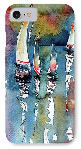 IPhone Case featuring the painting Sailboats II by Kovacs Anna Brigitta