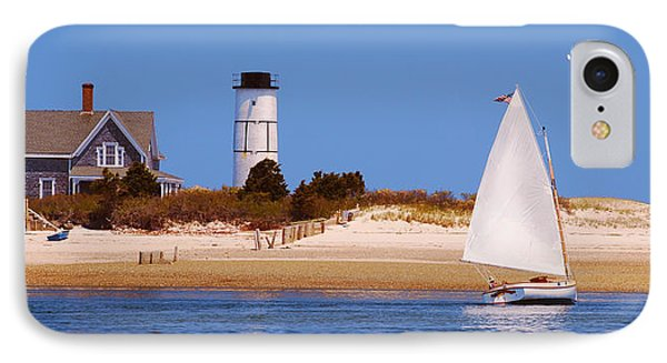 Sailing Around Sandy Neck Lighthouse IPhone Case by Charles Harden