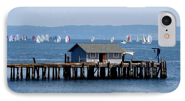 Sailing At Penn Cove Phone Case by Mary Gaines