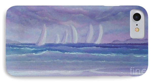 IPhone Case featuring the painting Sailing At Twilight by Holly Martinson