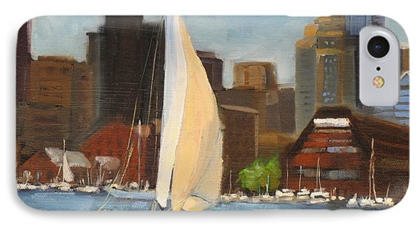 Sailing Boston Harbor IPhone Case by Laura Lee Zanghetti