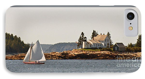 sailing by Mark Island lighthouse IPhone Case by Christopher Mace