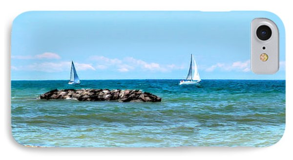 Sailing Days On Lake Erie Panorama Phone Case by Randy Steele
