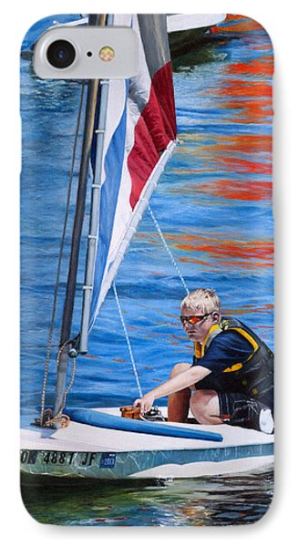 IPhone Case featuring the painting Sailing On Lake Thunderbird by Joshua Martin
