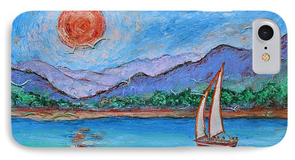 IPhone Case featuring the painting Sailing Red Sun by Xueling Zou