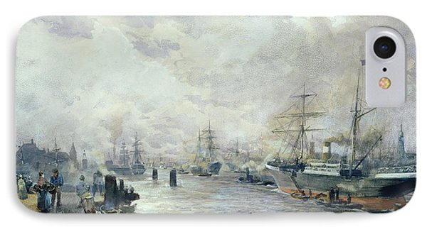Sailing Ships In The Port Of Hamburg IPhone Case
