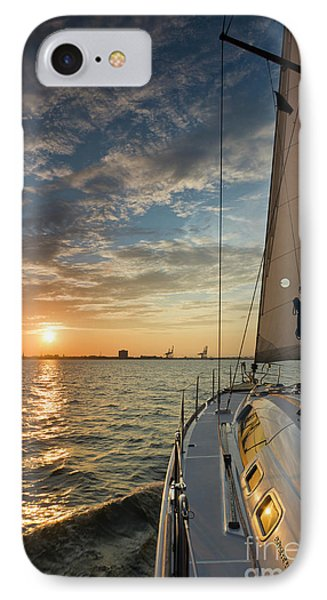Sailing Sunset On The Charleston Harbor Beneteau 49 IPhone Case by Dustin K Ryan