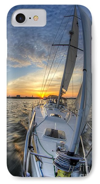 Sailing Sunset Sailboat Fate Charleston  IPhone Case by Dustin K Ryan