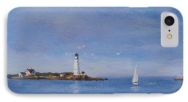 Sailing To Boston Light Phone Case by Laura Lee Zanghetti