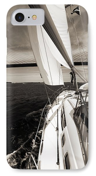 Sailing Under The Arthur Ravenel Jr. Bridge In Charleston Sc IPhone Case by Dustin K Ryan