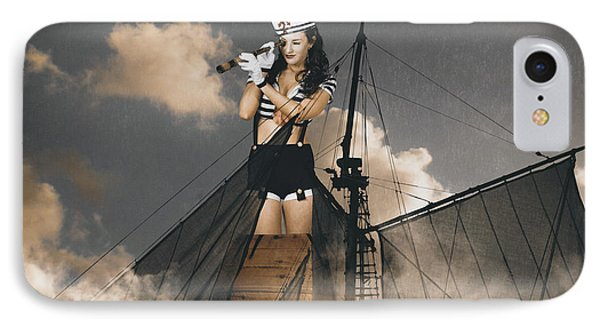 Sailor Pinup Girl On Lookout From Ships Crows-nest IPhone Case by Jorgo Photography - Wall Art Gallery