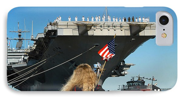 Sailors Aboard Aircraft Carrier Uss Phone Case by Stocktrek Images
