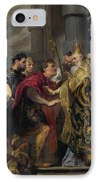 Saint Ambrose Barring Theodosius I From Milan Cathedral IPhone Case by Anthony van Dyck