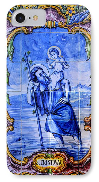 Saint Christopher Carrying The Christ Child Across The River - Near Entrance To The Carmel Mission Phone Case by Michael Mazaika