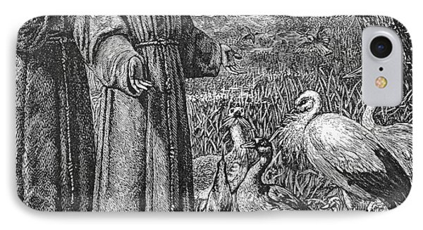 Saint Francis Of Assisi Preaching To The Birds IPhone Case by English School
