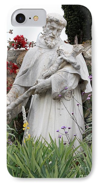 Saint Francis Statue In Carmel Mission Garden Phone Case by Carol Groenen