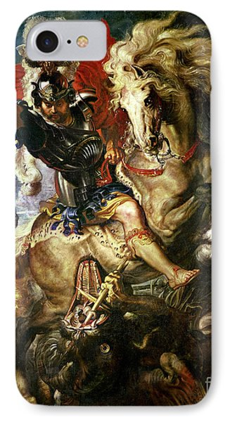 Saint George And The Dragon IPhone Case by Peter Paul Rubens
