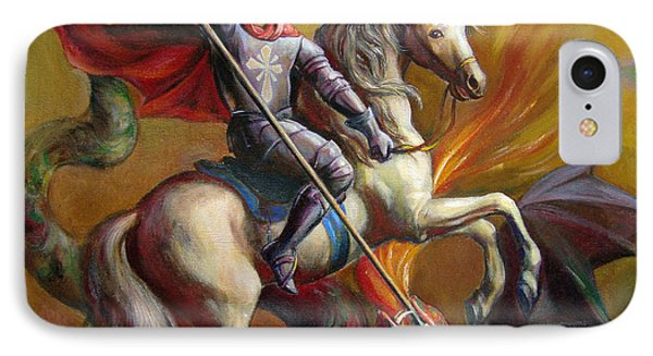 IPhone Case featuring the painting Saint George And The Dragon by Svitozar Nenyuk