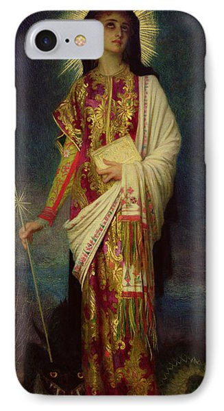 Saint Margaret Slaying The Dragon IPhone Case by Antoine Auguste Ernest Herbert