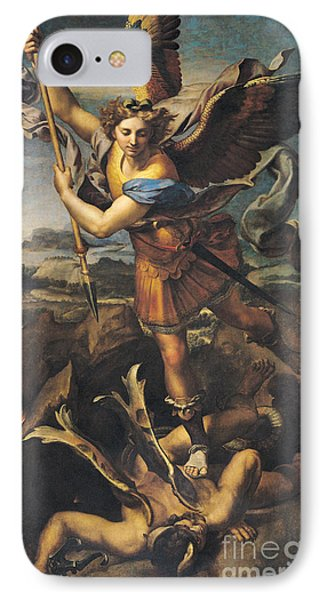 Saint Michael Overwhelming The Demon IPhone Case by Raphael