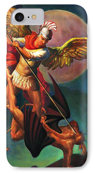 IPhone Case featuring the painting Saint Michael The Warrior Archangel by Svitozar Nenyuk