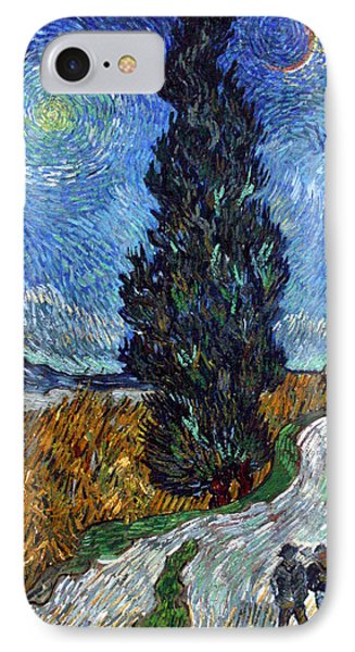 Saint-remy Road With Cypress And Star IPhone Case