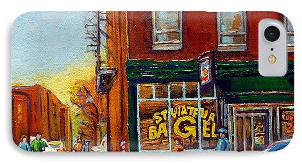 Saint Viareur And Park Avenue Bagel Shop Phone Case by Carole Spandau