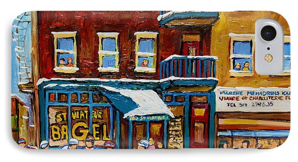 Saint Viateur Bagel With Hockey IPhone Case by Carole Spandau