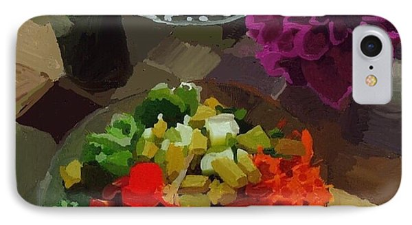 Salad And Dressing With Squash And Purple Dahlia IPhone Case