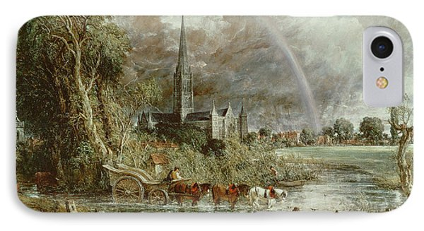 Salisbury Cathedral From The Meadows IPhone Case by John Constable