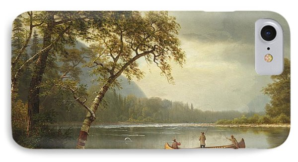 Salmon iPhone 7 Case - Salmon Fishing On The Caspapediac River by Albert Bierstadt