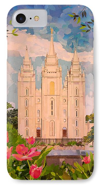 Salt Lake City Temple IPhone Case by Robin Birrell