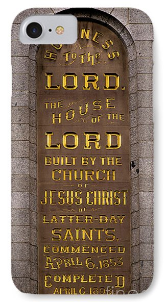 IPhone Case featuring the photograph Salt Lake Lds Temple Dedication Plaque Close-up by Gary Whitton