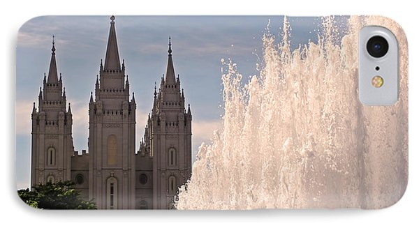 IPhone Case featuring the photograph Salt Lake Temple And Fountain by Rona Black